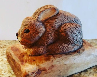 Hand Carved Wood Bunny Easter Rabbit Whittled Birthday  Collectible Unique Woodcarving Animal