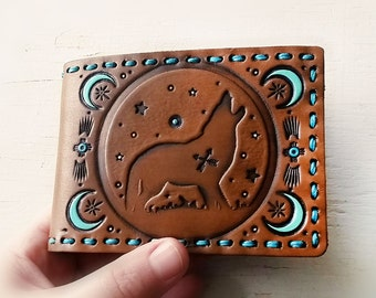 Handmade Leather Wallet - Wolf and the Moon - Turquoise and Chocolate - Mesa Dreams - Men's - Unisex wallet - Spirit Animal - MADE TO ORDER