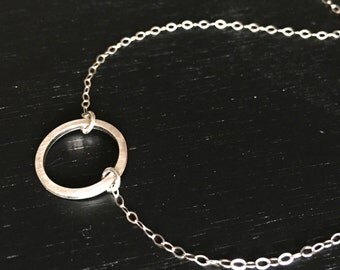 """brushed sterling circle necklace, 17"""" length, small sterling circle necklace, simple necklace, everyday necklace, Graduation gift"""