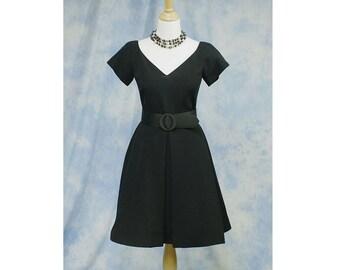 Vintage 80s Designer Arnold Scaasi LBD Black Cocktail Party or Dinner Dress; Size 8, Medium