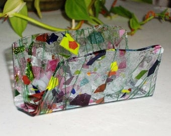 Fused Glass Business Card Holder -  Mardi Gras 32516