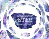 Watercolor Universe Feathers, Watercolor Feathers, Digital Files, Design Elements, Clipart,  Blue, Digital Scrapbooking, DIY Invites