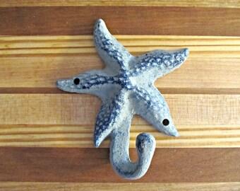 Blue Starfish Cast Iron Wall Hook - Beach, Coastal, Nautical Home Decor