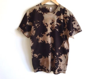 Black and Light Brown Shadow Hand Dyed T Shirt - Medium