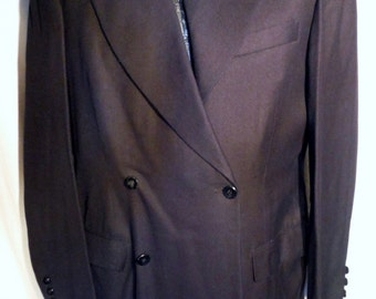 Mens 50s Era Vintage  Black Wool Double Breasted Coat Jacket size S (50 % OFF APPLIED)