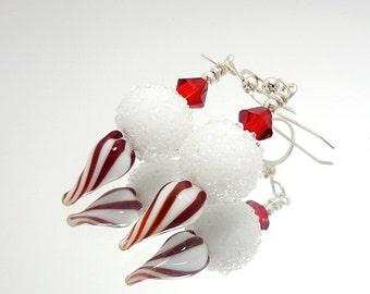 Red and White Earrings, Peppermint Earrings, Lampwork Earrings, Glass Bead Earrings, Beadwork Earrings, Christmas Earrings, Fun Earrings