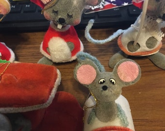 Vintage mice Christmas ornaments lot