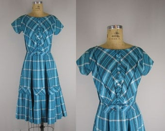 1950s Vintage Dress l 50s Plaid Day Dress
