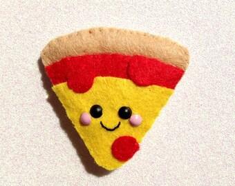 Pizza Felt Accessory, felt pizza brooch, felt pizza hair clip, fast food accessory, felt pizza slice, kawaii hair accessory, happy pizza