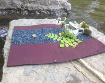 Blue Stone on Mulberry Large Tea Mat