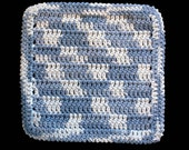 100% Cotton Hand Crocheted Dishcloth Washcloth Color: Faded Denim