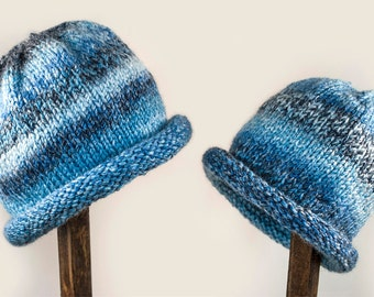 Child Adult Hat Rolled Brim Beanie Color: No. 10 DENIMS