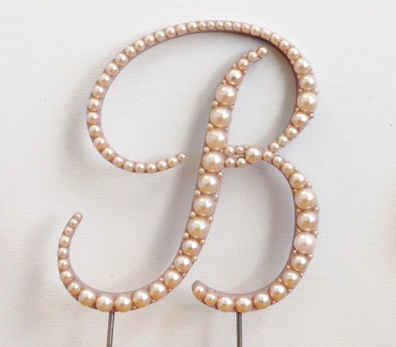 wedding cake toppers rose gold gold pearl monogram wedding cake topper 26591