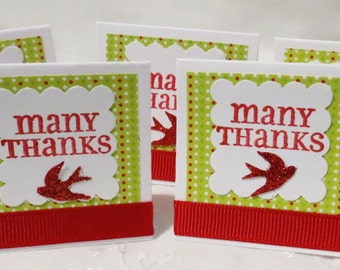 Holiday Mini Thank You Cards Handmade Set of 24, Christmas, Red and Green, Red Birds, Mini Cards, Thank You Cards
