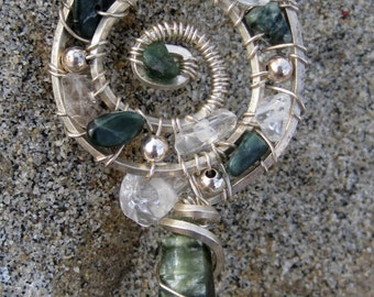 Sacred Spiral///Wings of an Angel///Seraphinite, Quartz, and Sterling Silver Wire Wrap Pendent, One of a Kind, Handmade, Art