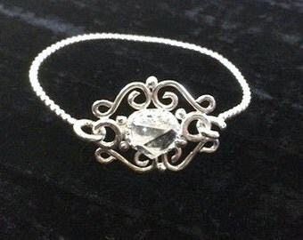The Large White Out Bracelet-Sterling Silver Filigree Bangle Bracelet with Large Herkimer Diamond
