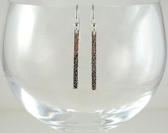 Silver Earrings Sterling Earrings Hammered Silver Earrings Minimalist Silver Earrings Sterling Drop Earrings Sterling Silver Bar Earrings