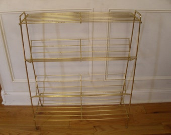 Vintage 1950's/1960's  Four Tiered Gold Tone Metal Shelf