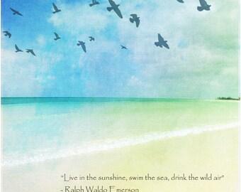 Beach art, inspriational poster, coastal art print, Bahamas art, nature photography