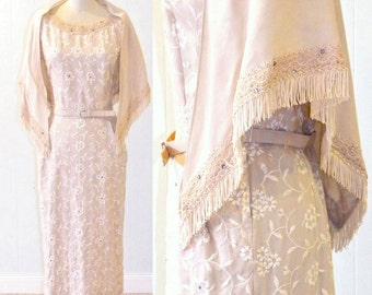 50s Dress, 1950s Embroidered Sheath Dress & Shawl Wrap, D.R.A. Original Medium