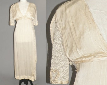 Edwardian Wedding Dress, Antique 1910s Dress, Silk Lace Titanic Dress, Grecian Gown, Heart on My Sleeve