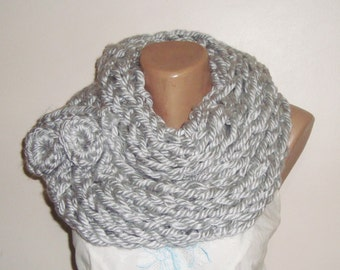 Hand Knit Scarf infinity scarf for Mens or Womens  Scarves in Grey Scarf, grey knit scarf