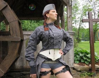 Raydor long sleeved jacket, Medium,  steampunk, wasteland, burning man, bellydance, repurposed military