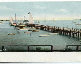 Hyannis Port Pier Boats Cape Cod Massachusetts 1907c postcard