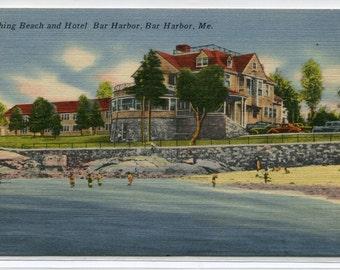 Bathing Beach Hotel Bar Harbor Maine linen postcard