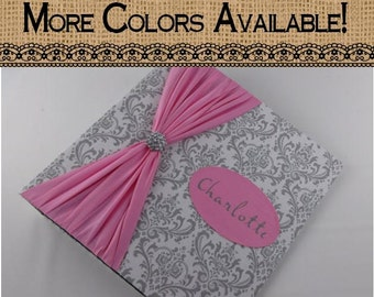Girl baby book- gray damask and pink- baby journal- pregnancy memory book- girl baby shower gift baby memory book