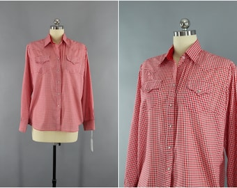 Vintage 1970s Rockmount Shirt / 70s Rockabilly Shirt / Red Gingham Blouse / Western Style Ranch Wear / Size Medium M Large L