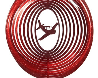 Airplane Low Wing COMBO Swirly Metal Wind Spinner