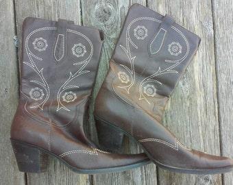 Women's Brazilian Leather Cowboy Boots 8.5M