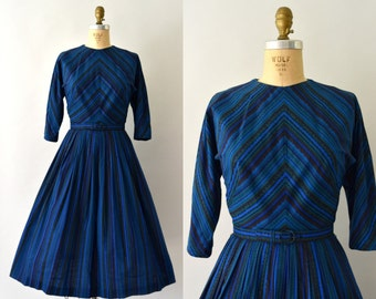 1950s Vintage Dress - 50s Deep Blue Striped Cotton Dress