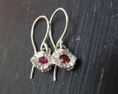 Water Lily Pistil Earrings with Rubies
