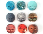 Petulant Planets Solar System Pin Back Button Set - pop surrealism pin - 9 pin-back buttons by Mab Graves