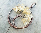 Citrine Tree of Life Pendant Choose from Copper, Oxidized Copper, Brass or Sterling Silver