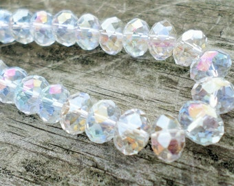 Clear AB Plated Faceted Crystal Rondelle Beads 8 x 5mm
