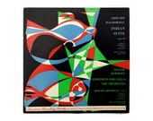 """M. Peter Piening (attr.) record album design, c.1950. """"Edward Macdowell Indian Suite & Victor Herbert Concerto for Cello and Orchestra"""" LP"""
