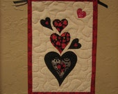 Valentine Red and Black Hearts, Fabric Wall Hanging, Small Quilted Wall Hanging, Valentines Day Wall Art, Quilted Handmade