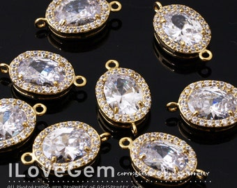 NP-1798 Gold Plated, Cubic zirconia, Oval Connector, 10X17mm, 2pcs / Cubic Connector, Bridesmaid, Bridal, Wedding Jewelry