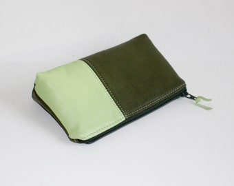 Small Leather Pouch. Leather Bag. Leather Make-Up Bag. Leather Cosmetic Bag in Olive Green and Mint Green