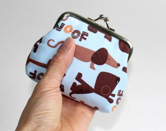 Small Coin Purse. Light Blue Dogs Coin Purse. Hot Dog Coin Purse. Dog Coin Purse.