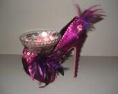 Shoe Candy Dish Fuschia Glitter Platform