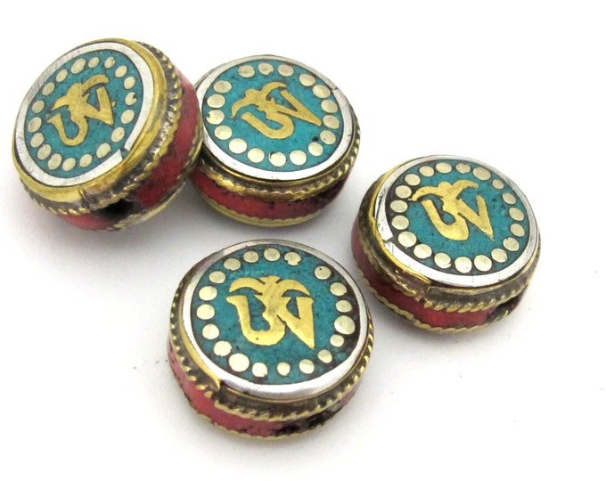 1 BEAD - Tibetan Om inscribed reversible brass bead with turquoise coral inlay - BD892