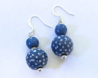 Kazuri Earrings, Blue and White Ceramic Earrings