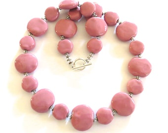 Pink Beaded Necklace, Ceramic Jewelry, Kazuri Bead Necklace, Statement Necklace