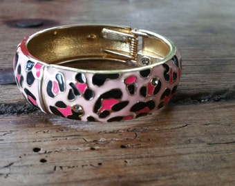 Funky pink and black enamel cuff spring bracelet, crystal accents