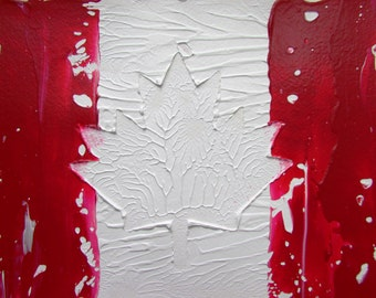Canadian Flag Abstract Acrylic Painting