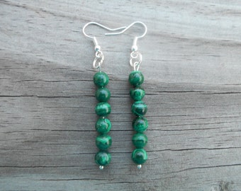 Natural Malachite French Hook Earrings